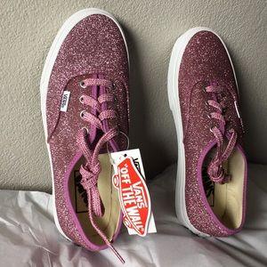 Vans Authentic Lurex Glitter) Pink/True White7.5